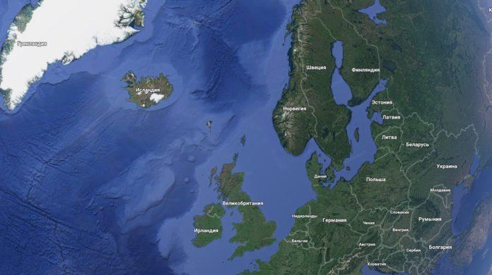 Положение Исландии на планете // Источник: Google maps
