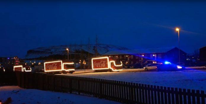 Праздничный автопоезд Coca Cola в Рейкьявике 7 декабря 2019 года // Источник: YouTube (Halldor Sigurdsson)