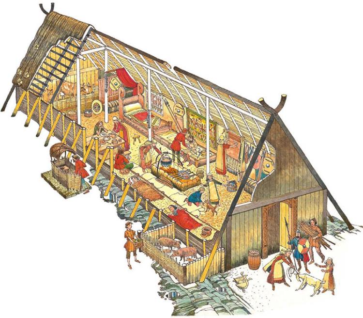 Длинный дом викингов изнутри