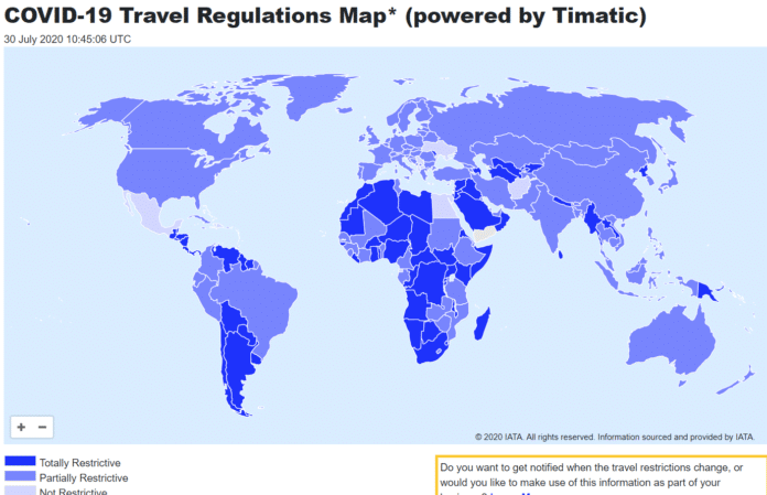 COVID-19 Travel Regulations Map* (powered by Timatic)