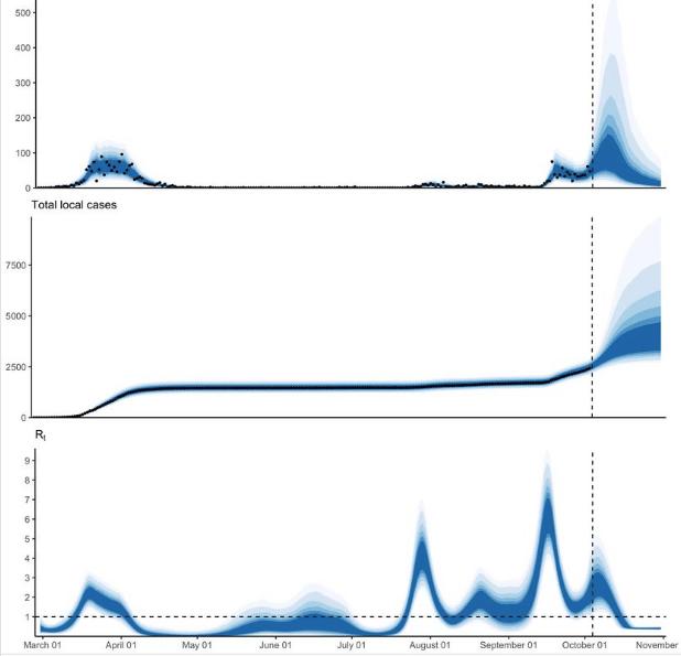 График заболеваемости COVID-19 в Исландии. Источник: страница профессора Тора Аспелунда в Фейсбук